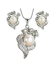 WomanWa Silver Pearl Pendant Set For Women