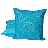 Ufc Mart Mirror Lace Embroidered Cushion Cover 2pc. Set, Color: Turquoise, #Ufc00482