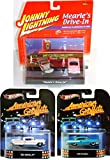 50's American Graffiti Hot Wheels & Johnny Lightning Set - Chevy Impala & Ford Edsel 4 Cars Retro Entertainment Mearl's Diner Die-Cast Movie Vehicle Replica