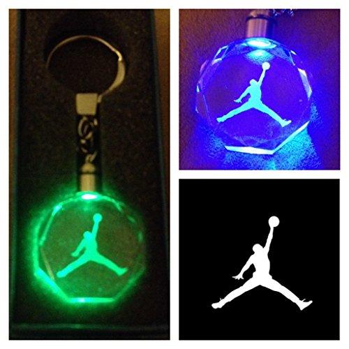 Jordan Jump Man Crystal Led KeyChain 7 Colors Changing Cycle