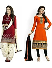 Shiroya Brothers Women's Design Designer Party Wear Low Price Sale Offer Red&orenge Cotton Unstitched Patiala...