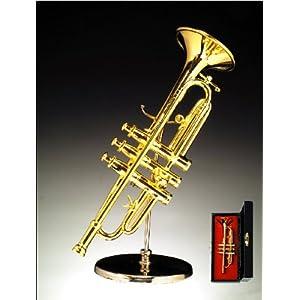 "5"" Gold Trumpet w/Case Miniature Instrument"