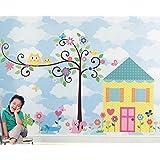 URBANLYFE Adorable Tree & Hut PVC Wall Sticker - (Sky Blue & Pink, 60 X 90 Cm)