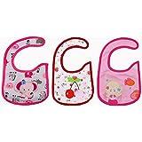 Baby Bucket Soft Cotton Baby Bibs Set Of 3 (Pink & Red)