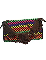 """Arisha Kreation Co Indian Beautiful Traditional Embroidered Design & With Brown 23"""" Sling Bag(Brown)"""