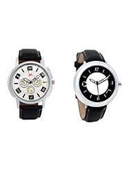 Gledati Men's White Dial And Foster's Women's Black Dial Analog Watch Combo_ADCOMB0001761