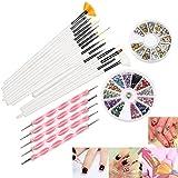 RUIMIO 12 Colors Nail Art Stickers, 15 Pcs Nail Art Brushes, 5pcs Dotting Pen And 3D Nail Art Manicure Wheel With...