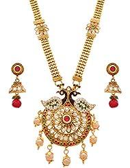 JFL - Premium Ethnic Meenakari Cz American Diamond Peacock One Gram Gold Plated Red & Green Stones Pearls Long...