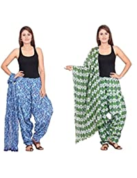 Rama Set Of 2 Abstract Design Green & Blue Colour Full Patiala With Dupatta Set