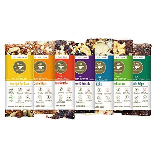 Energie Riegel Variety Box (7x 40g) von eat Performance (Paleo, Bio, Vegan, Müsliriegel ohne Zucker und Getreide, glutenfrei, laktosefrei, superfood)