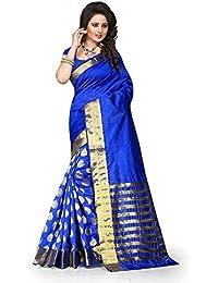 High Glitz Fashion Women's Cotton Saree With Blouse Piece (Ss::Hgf1084Md_Blue)