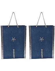 Richa Kriti Handmade Paper Reusable Shopper Bag (Blue)