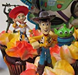 TOY STORY 2 Ten Piece Birthday Cupcake Topper Set Featuring Woody, Buzz Lightyear, Bullseye, Jessie and Alien , 3 Random Soldiers , One Random Backdrop, Themed Decorative Accessories, Figures Average 1