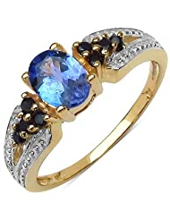 0.90CTW Genuine Tanzanite & Black Spinel.925 Sterling Silver 14K Yellow Gold Plated Ring