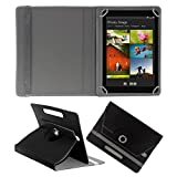PCM ROTATING 360° LEATHER FLIP CASE FOR DATAWIND UBISLATE 7C+ EDGE TABLET STAND COVER HOLDER BLACK