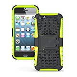 Newtronics Flip Kick Stand Hard Dual Armor Hybrid Bumper Back Case Cover For Apple IPhone 5 5S 5G - Green