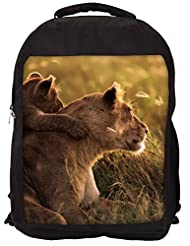 Snoogg Cubs And Lions Backpack Rucksack School Travel Unisex Casual Canvas Bag Bookbag Satchel