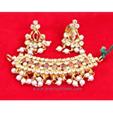 Pendant With Earring (Red And White Kundan)