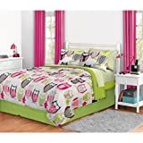 Girl Green Pink Owl Zebra Bird Twin XL Dorm College Comforter Set (6pc Bed in a Bag)