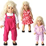 Doll Clothes Fits 18 Inches American Girl Dolls Pink Dress, A Long-sleeved Jacket And Suspender Pants, A One-piece...