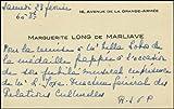 [Villa-Lobos, Hector. (1887 - 1959)] Long, Marguerite. (1874-1966). Autograph Note on Visiting Card regarding Villa-Lobos Jubilee Ceremony.