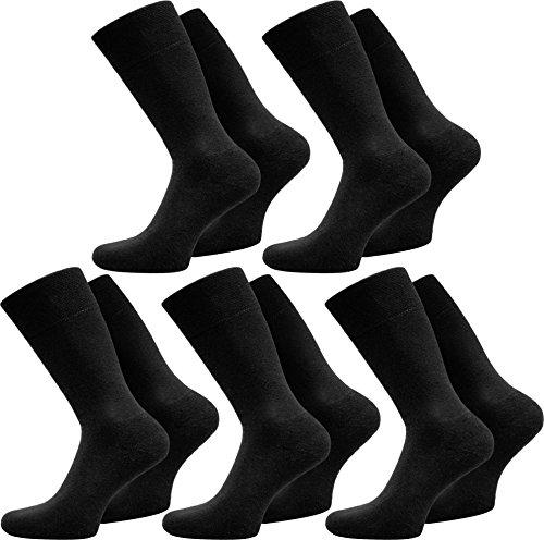 10 Paar Elegante normani® Herrensocken in Schwarz oder Weiß aus 100 % Baumwolle, ohne Naht Farbe Schwarz Größe 43/46