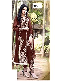 Cloth Velly Exclusive Chain Stich Coco Georgette Free Size Straight Suit 606PM