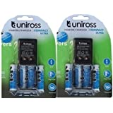 Uniross Compact Ultra AA/r6 Charger With 4units AA Rechargeable Batteries Set Of 2 Combo