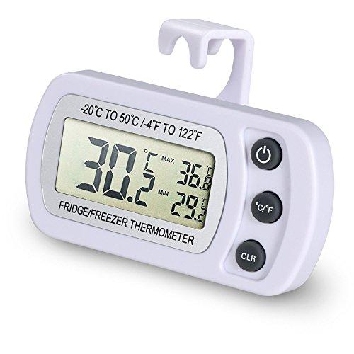 NexGadget LCD Digital Thermomètre Réfrigérateur, Thermomètre Congélateur, Plage de Mesures Etendue Allant de -20°C à +50°C (-4°F à +122°F) avec une Gr...