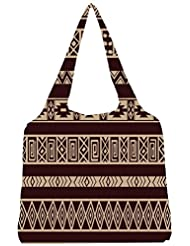 Snoogg Brown Aztec Pattern Womens Jhola Shape Tote Bag