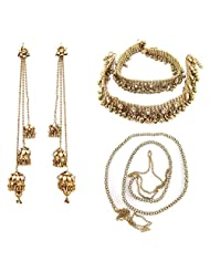 9blings Antique Style Kundan Cz Gold Plated Anklet Earrings Belt Combo Set N57