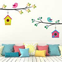 DeStudio Birds And Bird Houses, Multi Color, Wall Stickers (Wall Covering Area : 190cm X 100cm)-11288