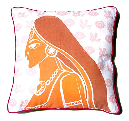 Homeblendz Cotton Printed Rajashtani Lady Design White, Rust And Brown 40x40 Cushion Cover