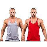 2 X Dk Active Wear BODY BUILDING STRINGER, GYM VEST, GYM STRINGER VEST 100% COTTON (Grey,Red) Small