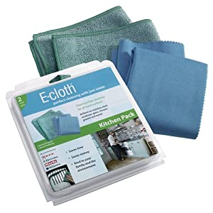 E-cloth Kitchen Pack, General Purpose Cleaning Cloth/Glass and Polishing Cloth