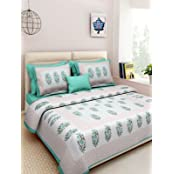 AS42 Cotton Embroidered Double Bedsheet(1 Bedsheet, 2 Pillow Covers, Multicolor)