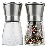 Moderne Salz und Pfeffermühle   2- teiliges Salz und Pfeffermühlen Set   Gewürzmühle aus Edelstahl   einstellbares Keramikmahlwerk für Gewürze, Salz und Chilli   Manuelle Kräutermühle   Salzmühle für Meersalz