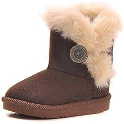EagsouniTM Mädchen Warme Watte Gepolsterten Schuhe Kleinkindschuhe Fell Boots Knopf warm gefüttert Baby Schlupfstiefel Schneestiefel