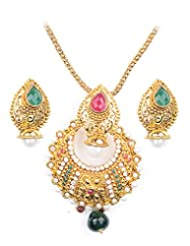 Asian Pearls & Jewels Multi Color Pendant Set - B00NME5ZKQ