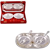 """Silver Plated 2 Mor Bowl With Spoon And Tray And Silver Plated 2 5"""" Bowl With Spoon And Tray"""