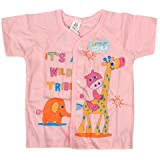 Baby Bucket Half Sleeve Front Open Animal Printed Jabla New Born (Pink)