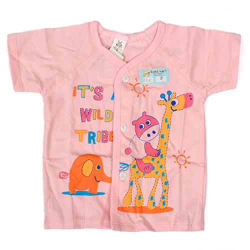Baby Bucket Half Sleeve Front Open Animal Printed Jabla New Born (Pink)