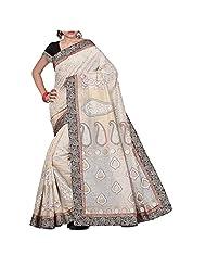 Shuddh Desi Beige Off White Floral Print Chanderi Saree