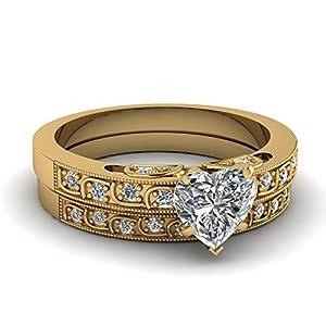 Fascinating Diamonds 0.70 Ct Heart Shape Diamond Incandescence Bridal Engagement Rings Set VS1-F 14K GIA
