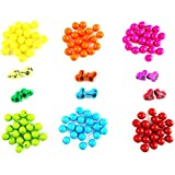 Eshoppee 10 Mm Plastic / Acrylic Beads 6 Color X 20 Pcs With 12 Pcs Heart Charms For Jewellery, Art And Craft Making Diy Kit (multi Heart)