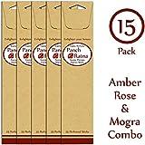 Panchratan Perfumed Charcoal Incense Sticks ( Pack Of 15, 23cms, Amber, Mogra And Rose Fragrance )