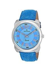 Swisstone Blue Dial Blue Leather Strap Analog Watch For Men/Boys- ST-GR017-LGT-BLU