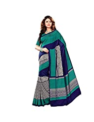 Green And Blue Cotton Printed Sarees With Blouse Piece