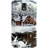 For Samsung Galaxy Note 3 :: Samsung Galaxy Note III :: Samsung Galaxy Note 3 N9002 :: Samsung Galaxy Note N9000 N9005 Beautiful Home ( Beautiful Home, Ice, River, Ice Home, Tree, Beautiful Ice, Winter ) Printed Designer Back Case Cover By FashionCops