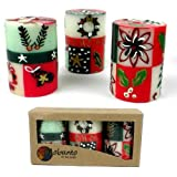Set Of Three Boxed Hand-Painted Candles - Ukhisimui Design